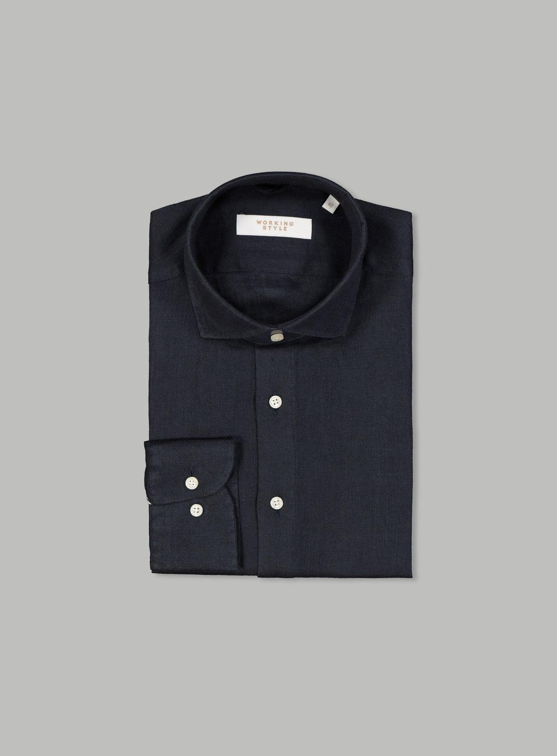 Agostino Navy Linen Shirt