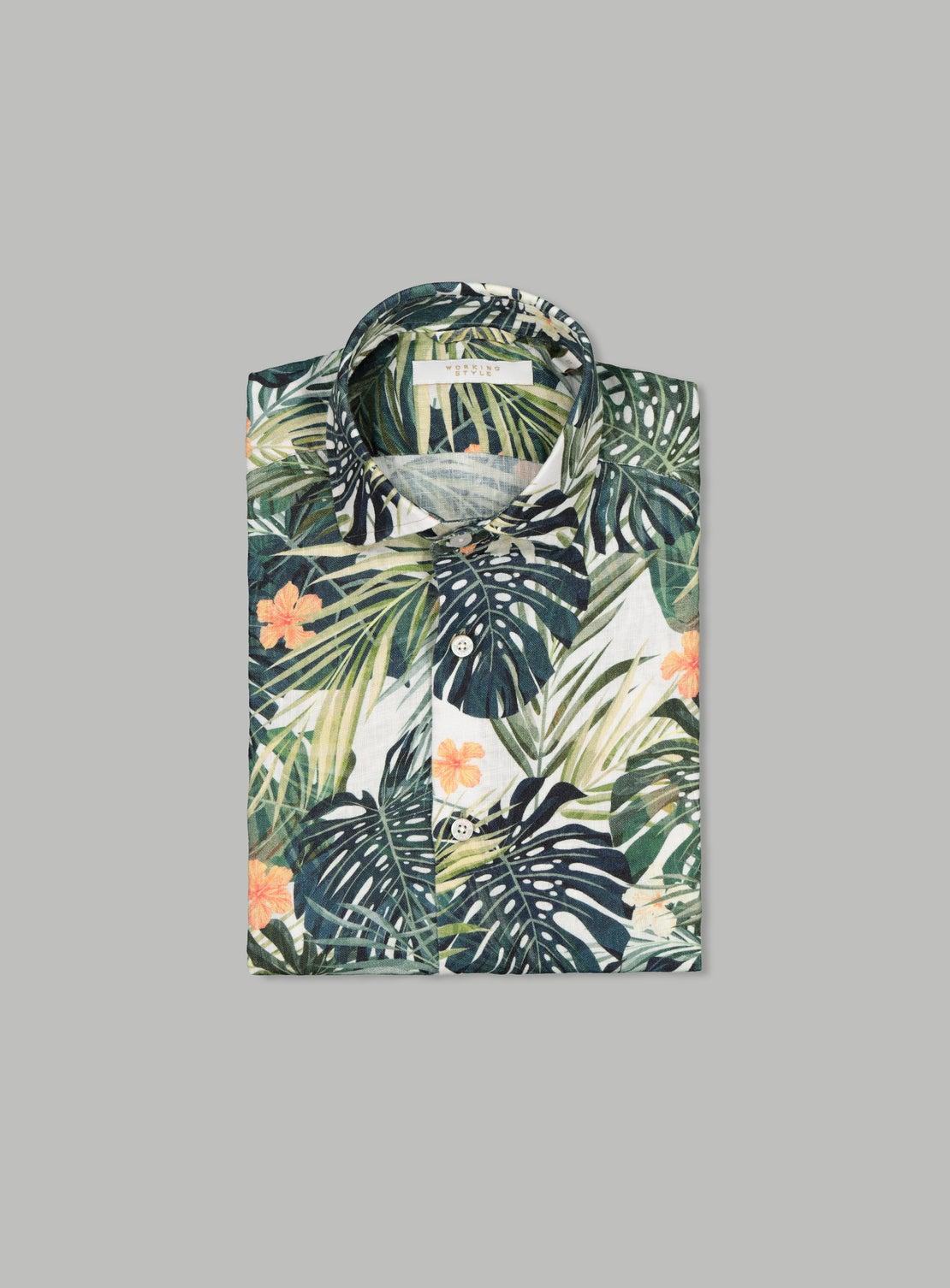 Alberto Green Linen Short Sleeve Shirt