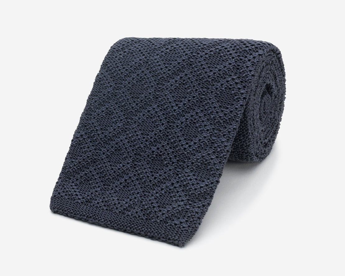 Antracite Grey Diamond Knit with Blunt Tip Tie