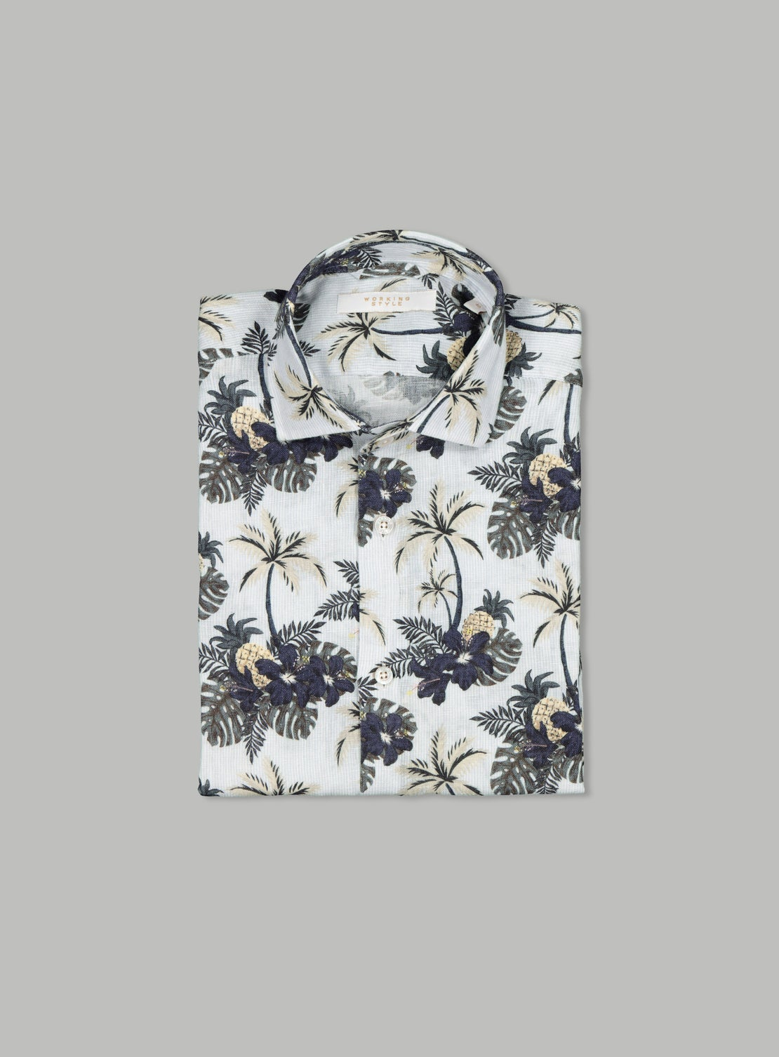 Arman White Linen Palm Tree Shirt