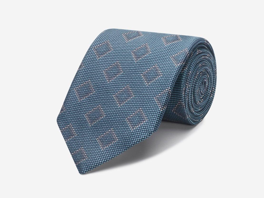 Atlantic Blue with Soft Cream Square Tie