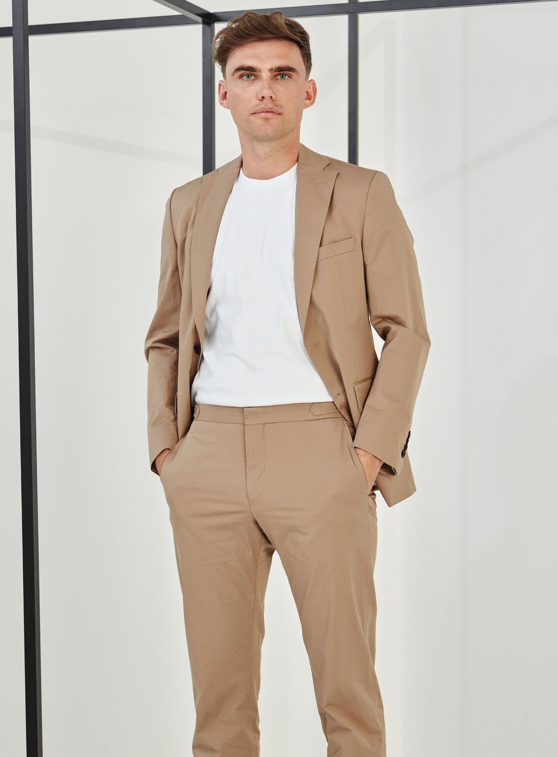 Beige Cotton Trouser