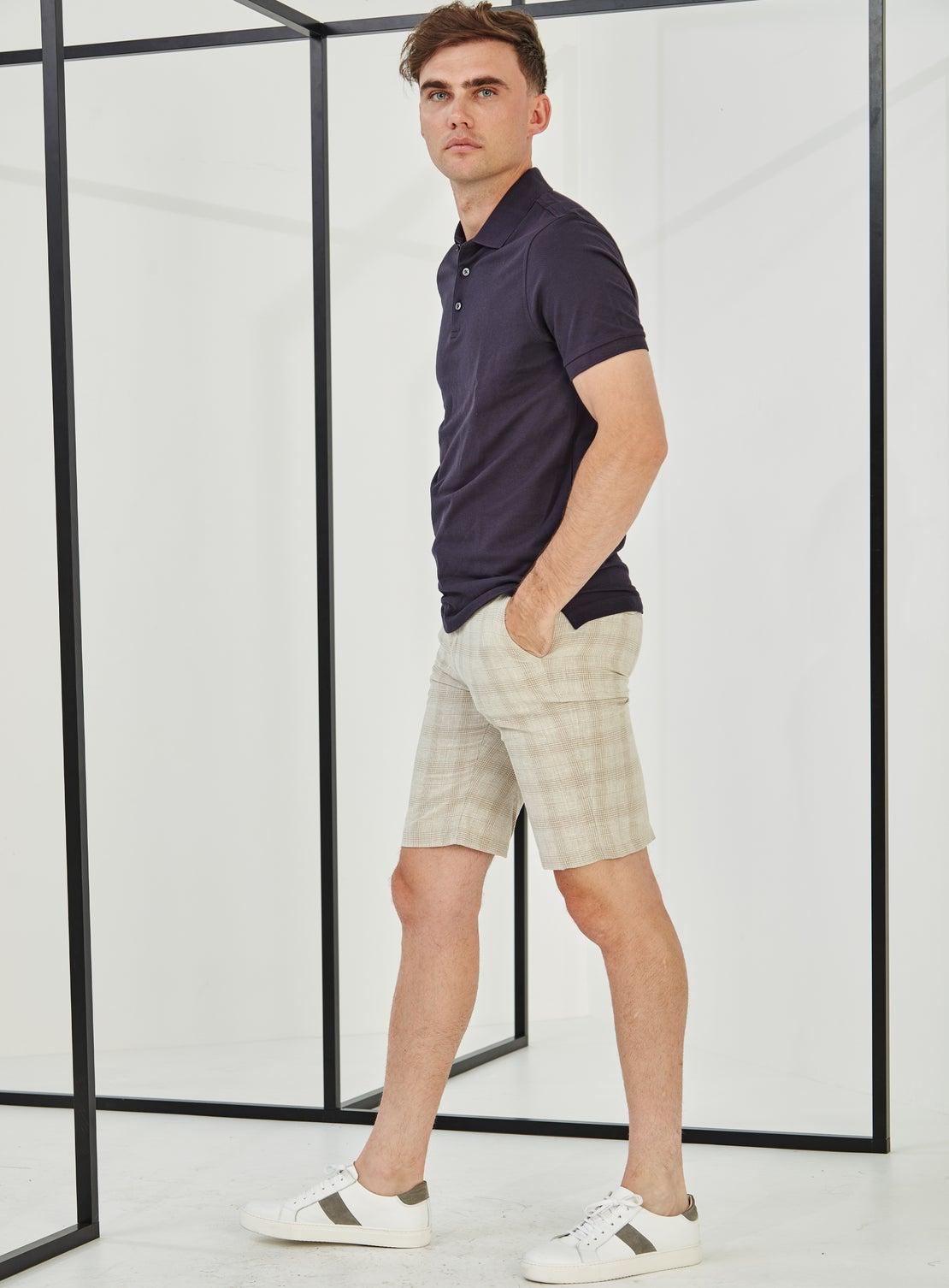 Beige POW Check Side Adjuster Shorts