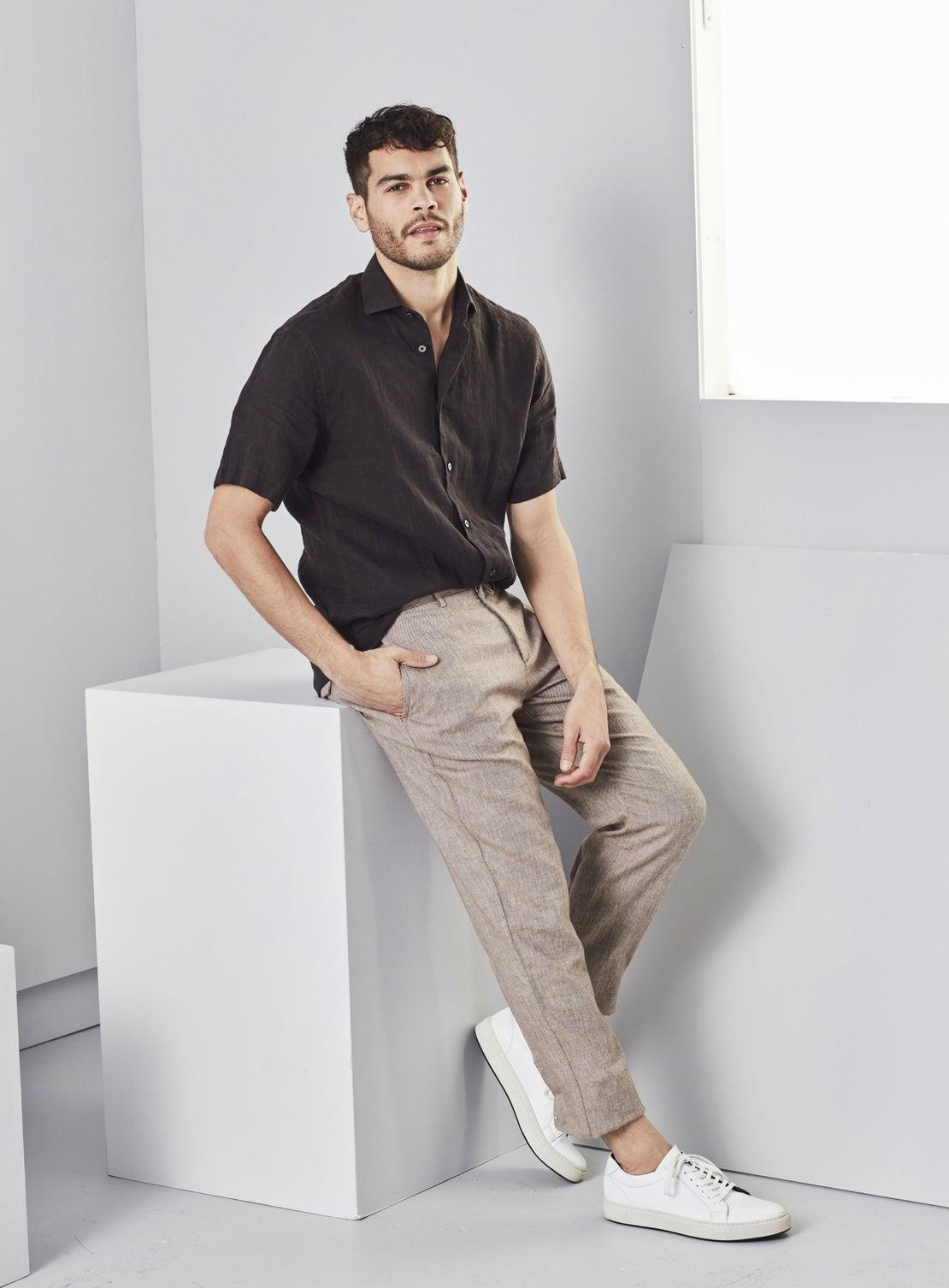 Black Linen Short Sleeved Shirt