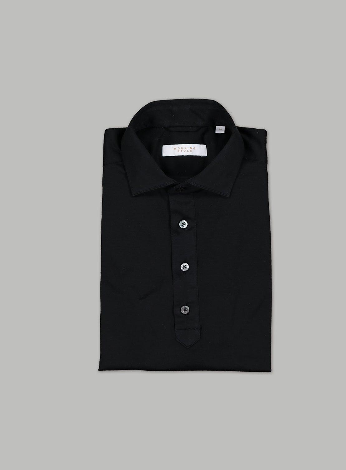 Black Mercerized Cotton Short Sleeved Shirt