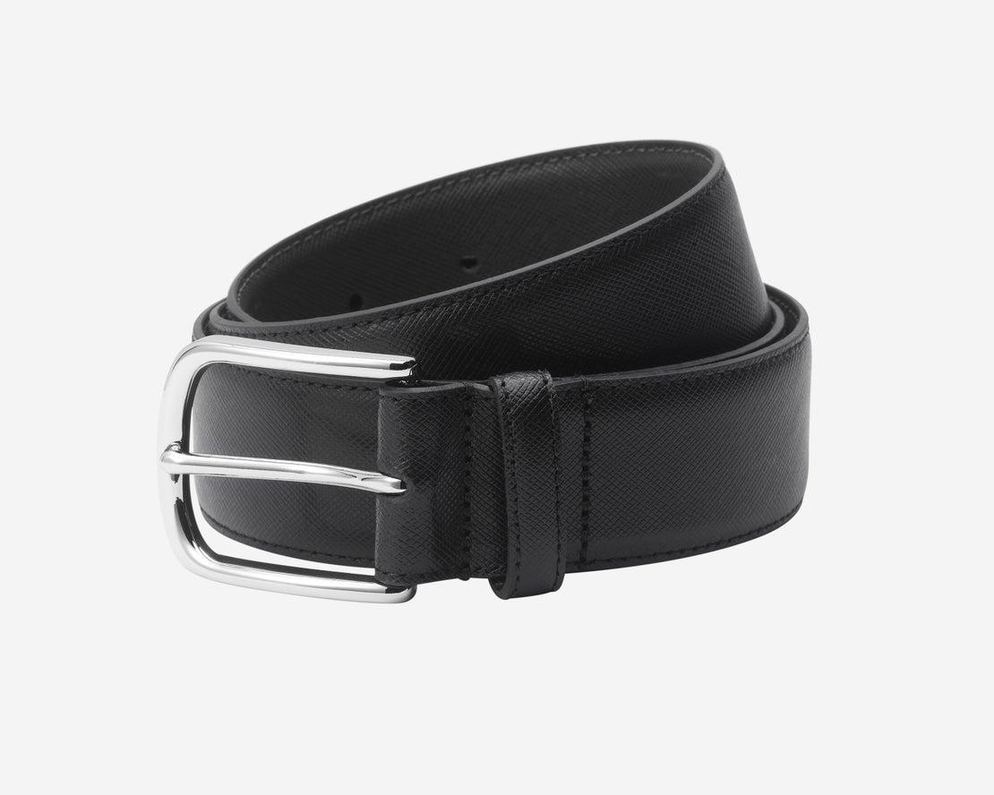 *Black Saffiano Leather Belt