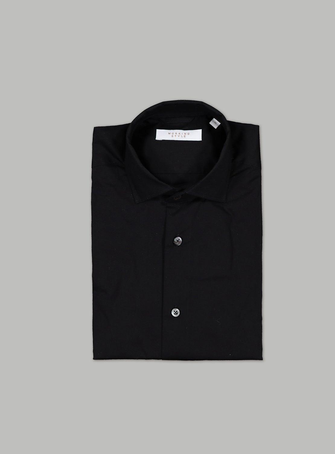 Black Stretch Poplin Shirt
