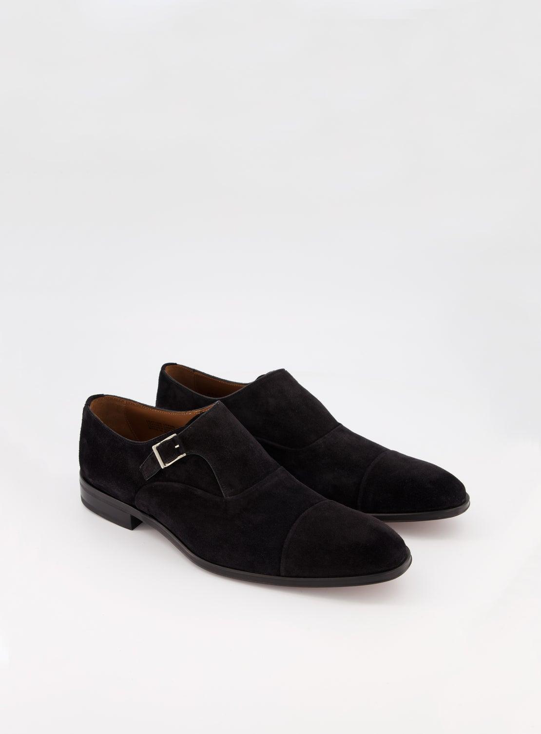 Black Suede Single Monk Toe Cap