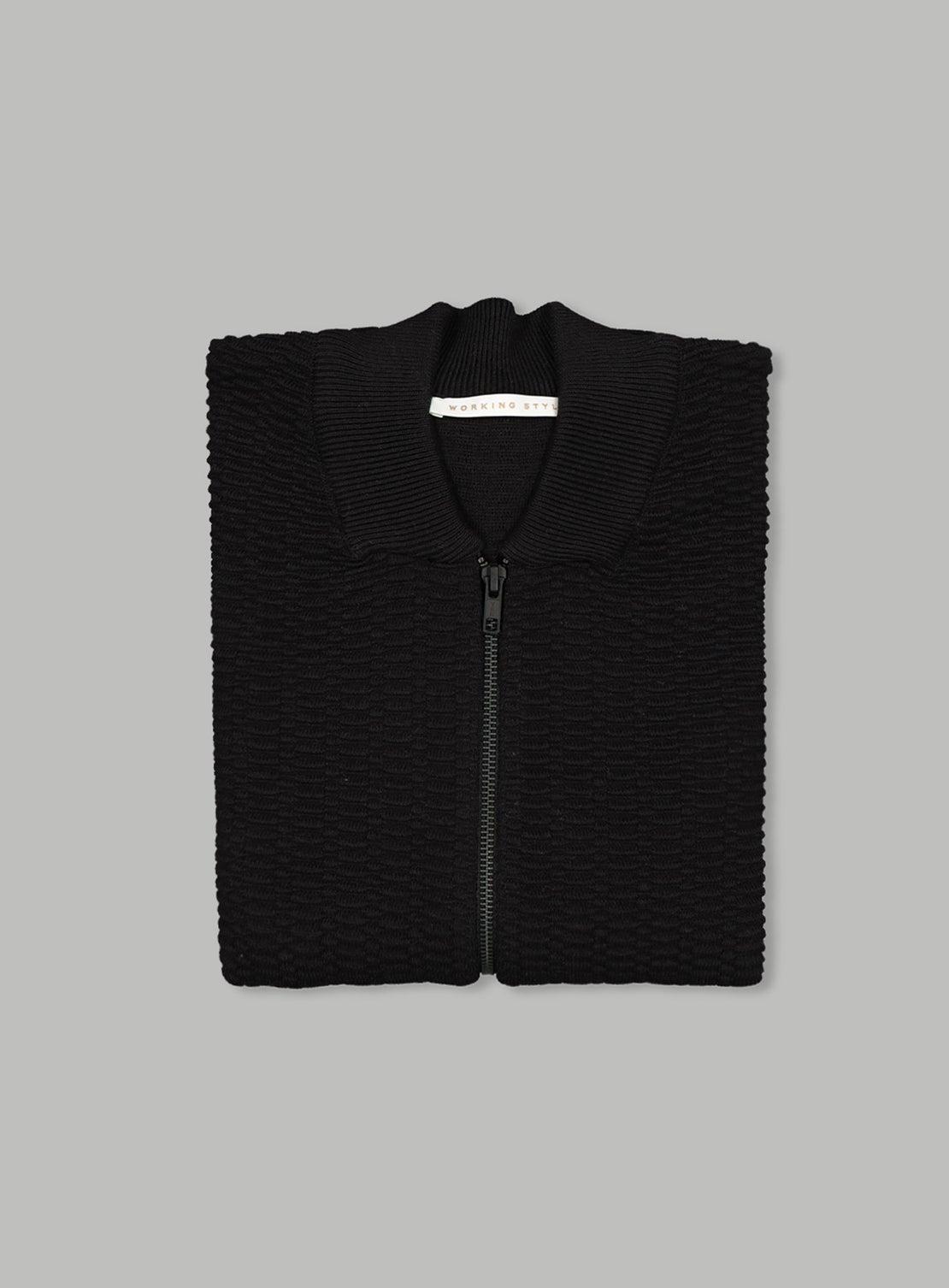 Black Waffle Zip Through Knit