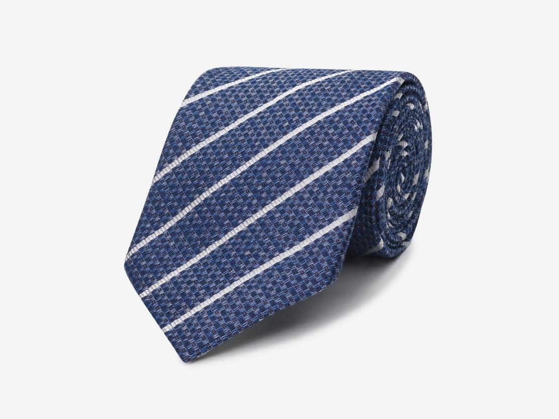Blue Basketweave with White Stripe Tie
