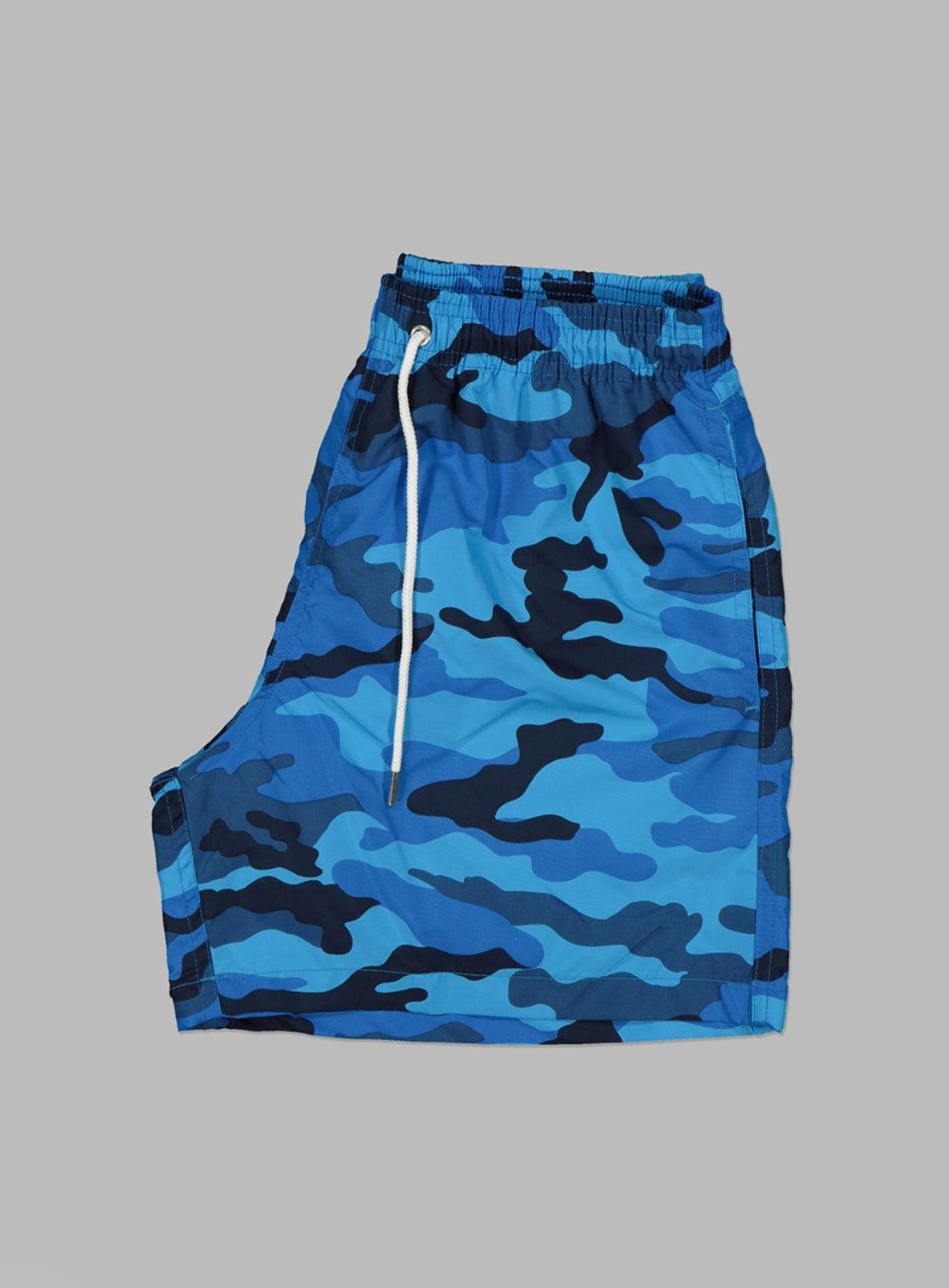 Blue Camo Swim Trunks