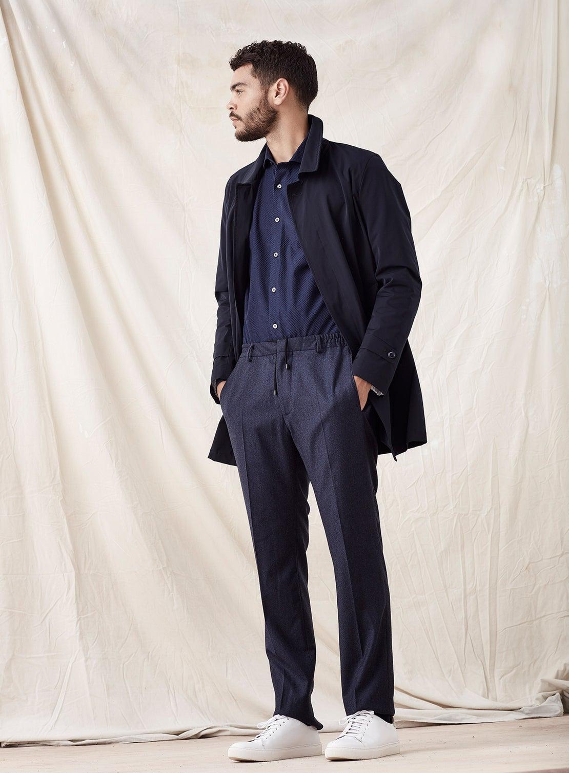 Blue Flannel Drawstring Trouser