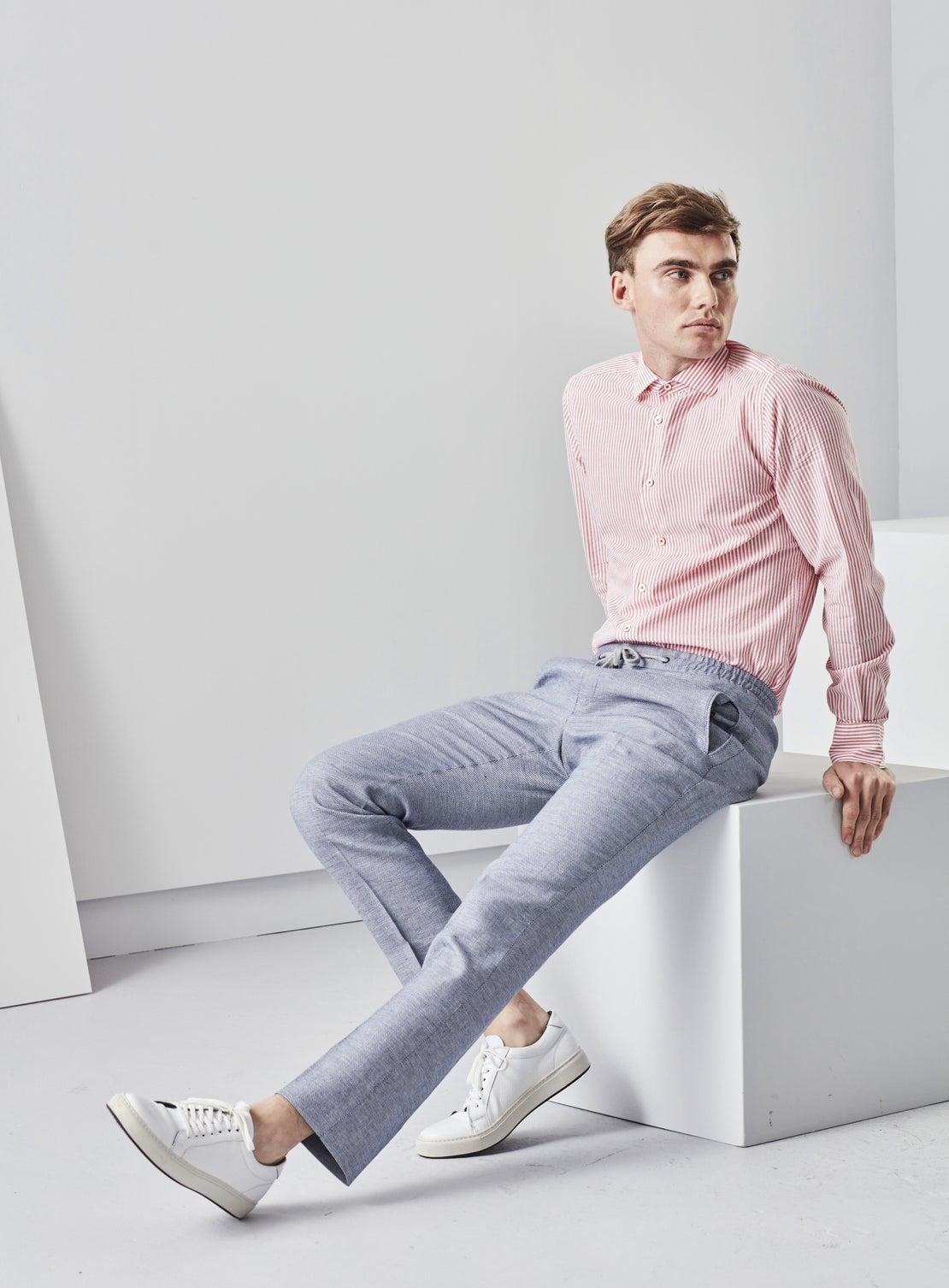 Blue Linen Birdseye Drawstring Trouser