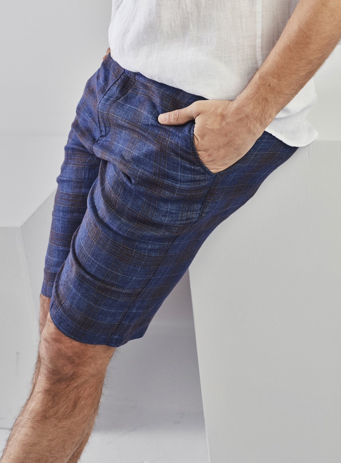 Blue Linen with Burgundy Check Shorts