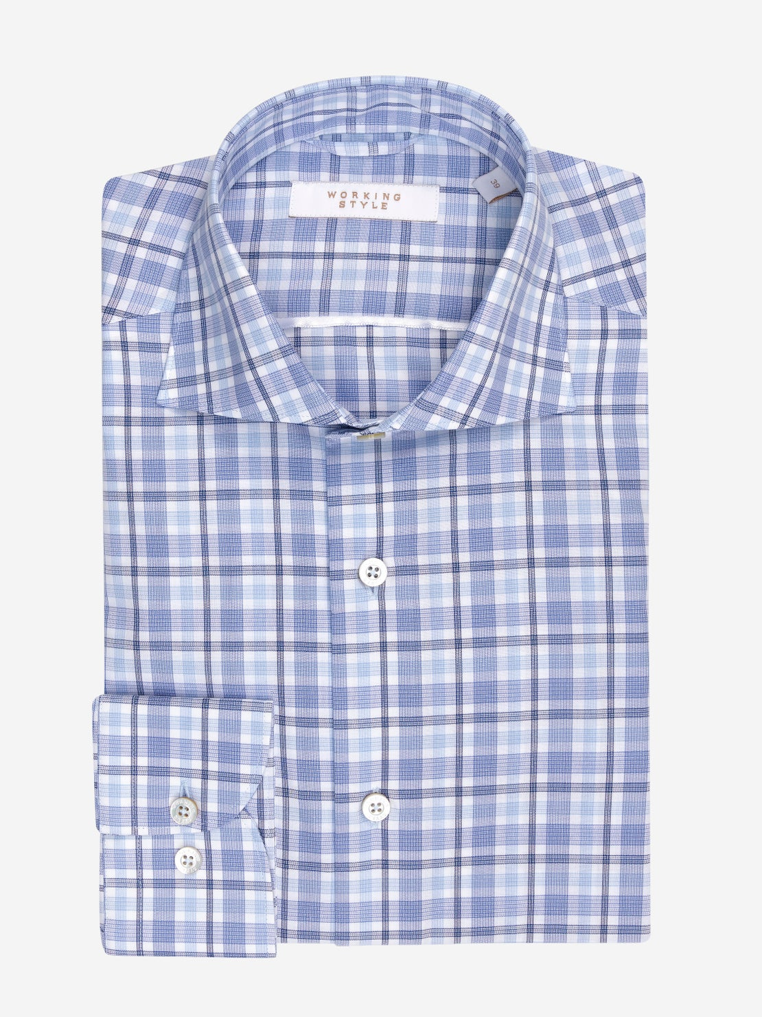 Blue, Navy & White Check Shirt