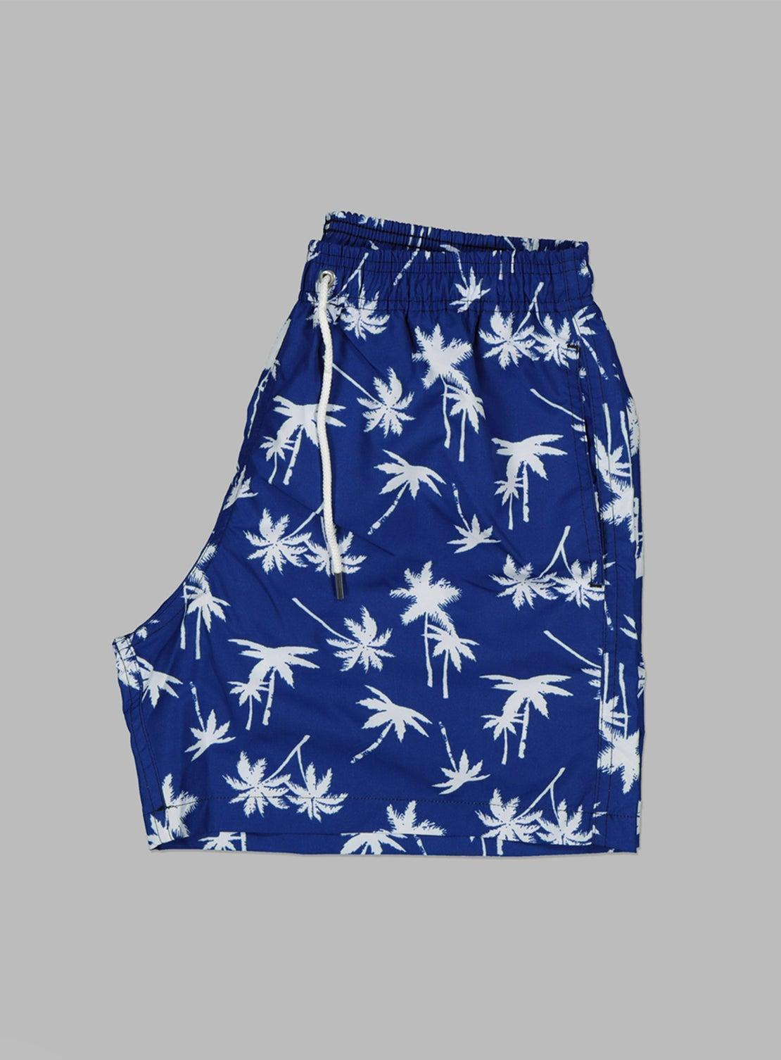 Blue Palm Swim Trunks
