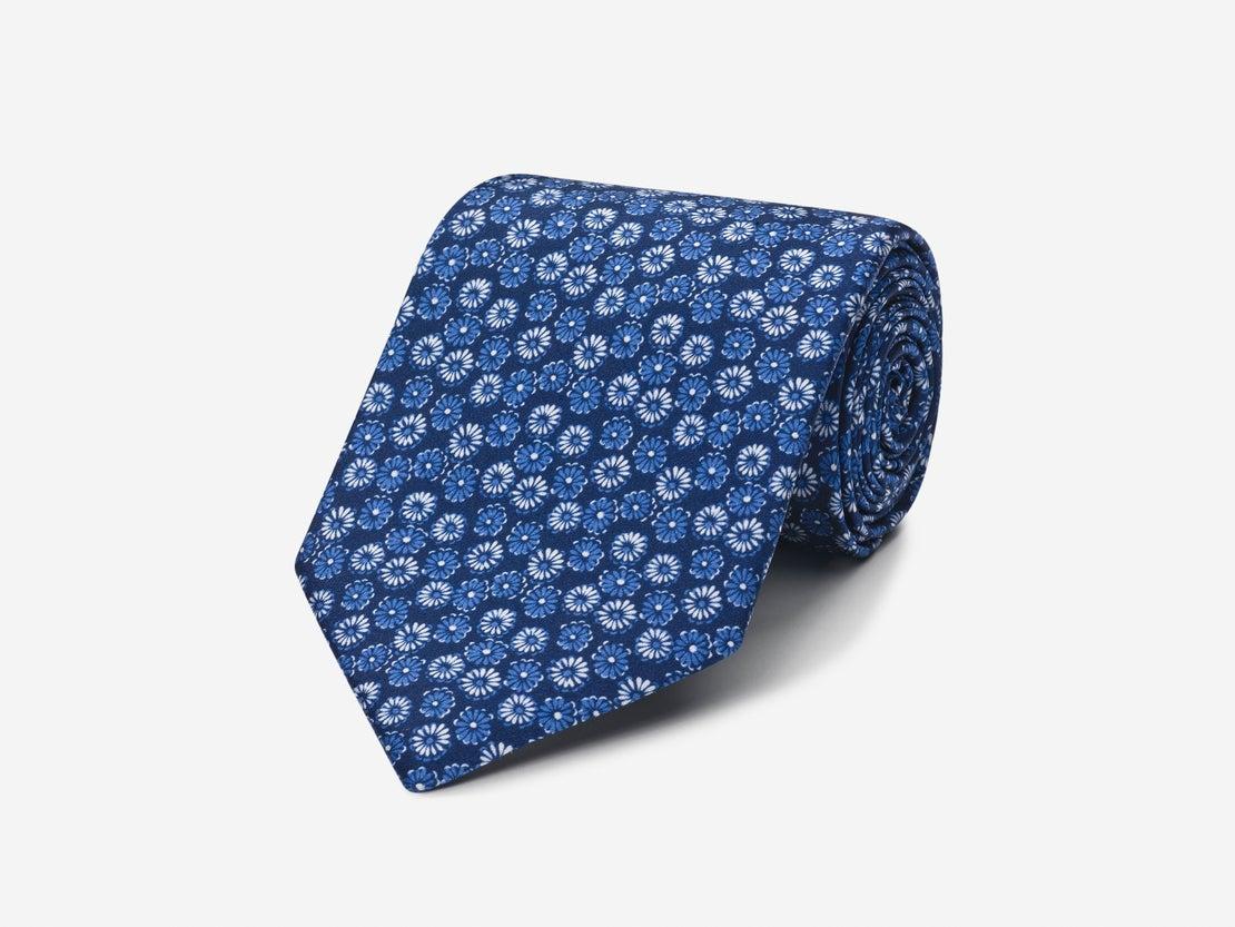 Blue Retro Floral Tie