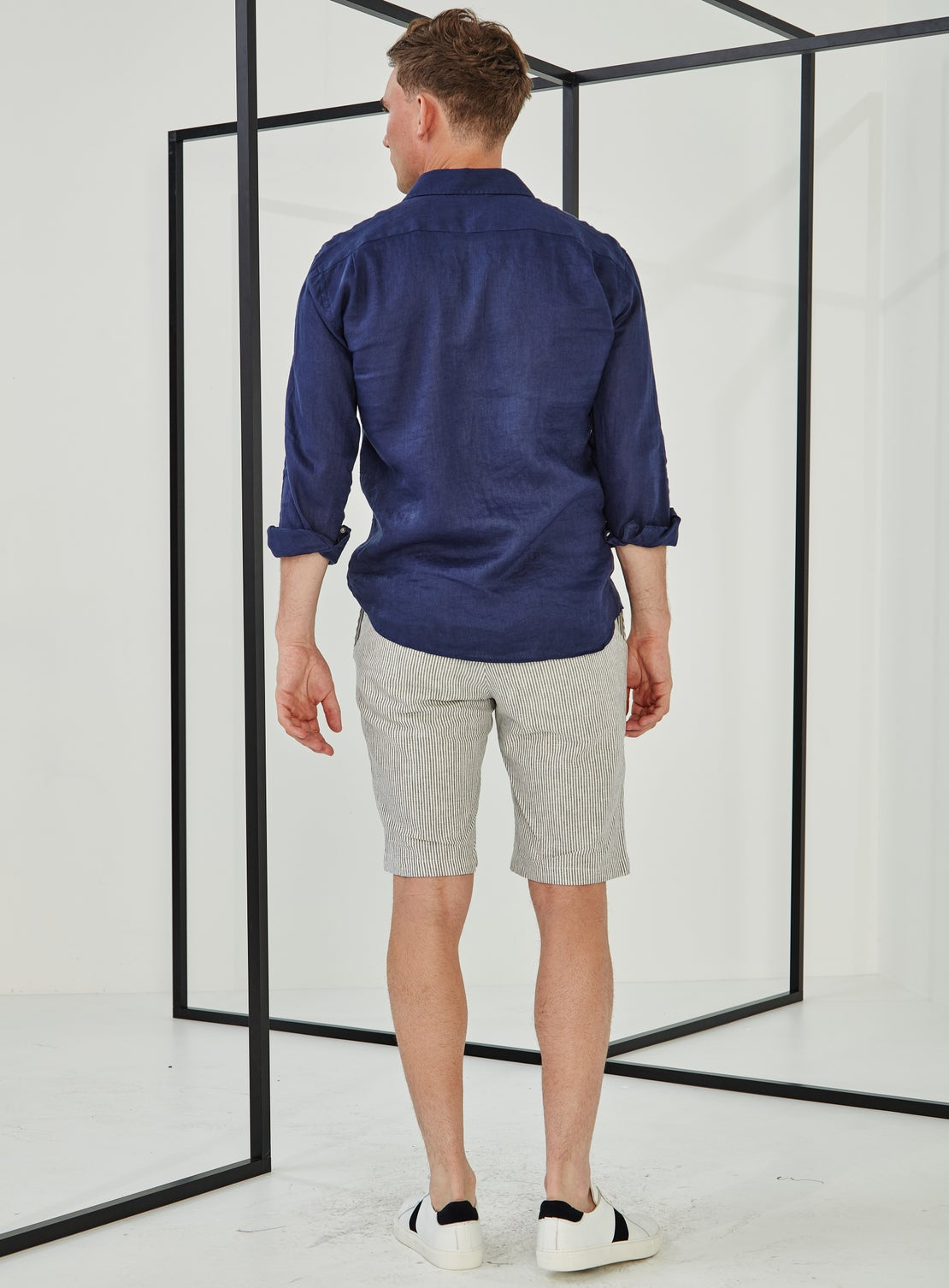 Blue Stripe Side Adjuster Shorts