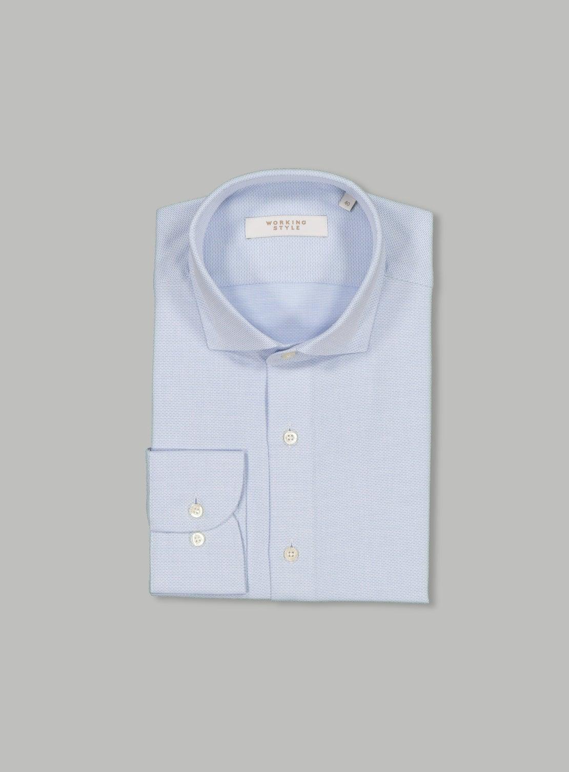 Blue Textured Shirt