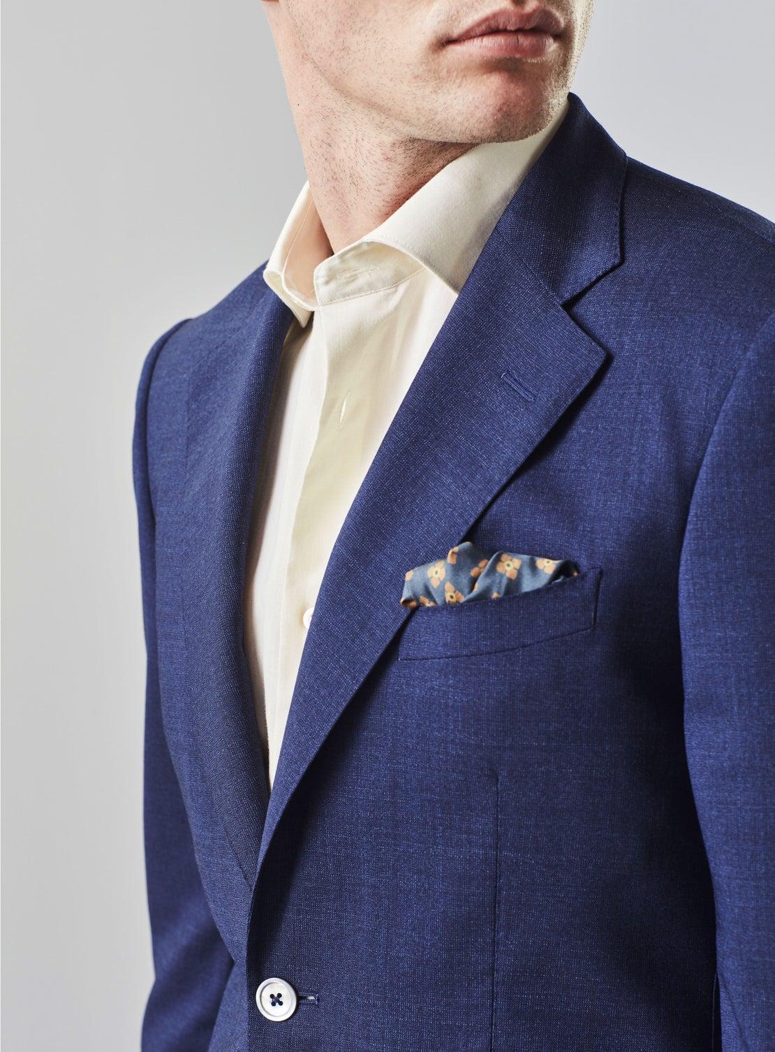 Blue Textured Suit