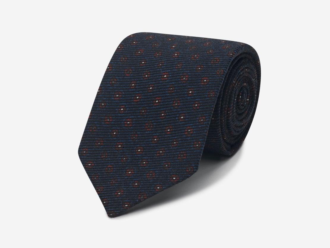 Blue Twill Flower Repeat Tie