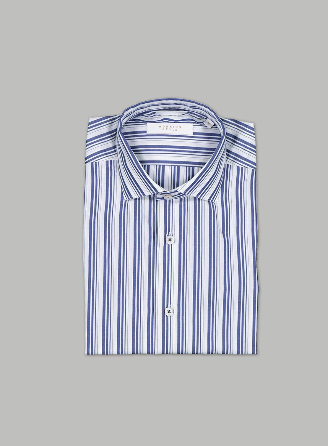 Blue & White Abstract Stripe Shirt