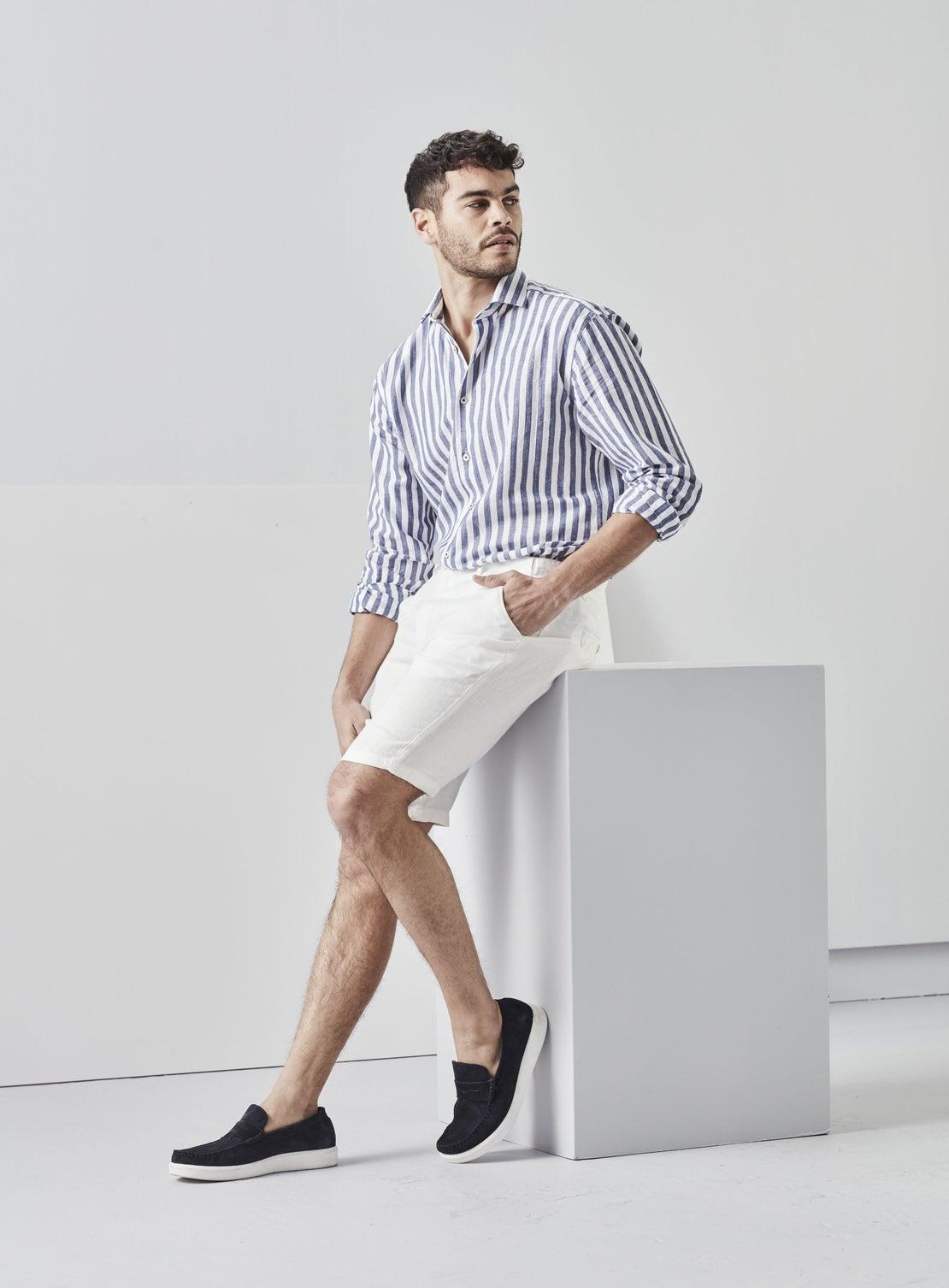 Blue & White Butchers Stripe Shirt