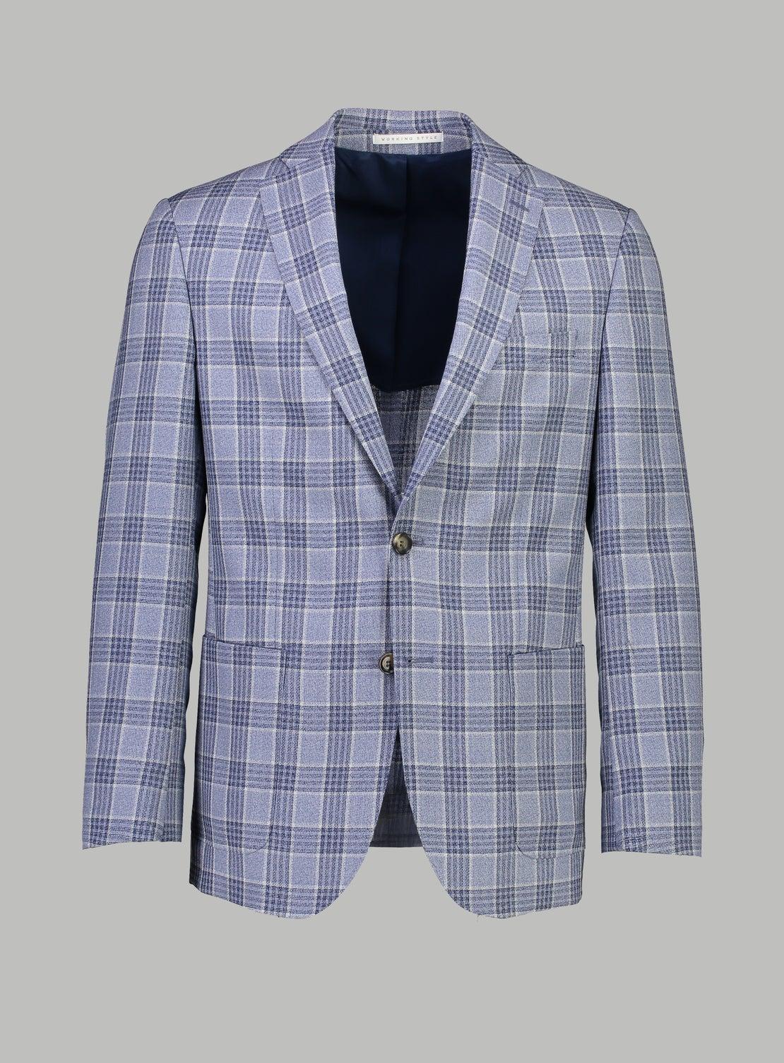 Blue Windowpane Check Jacket