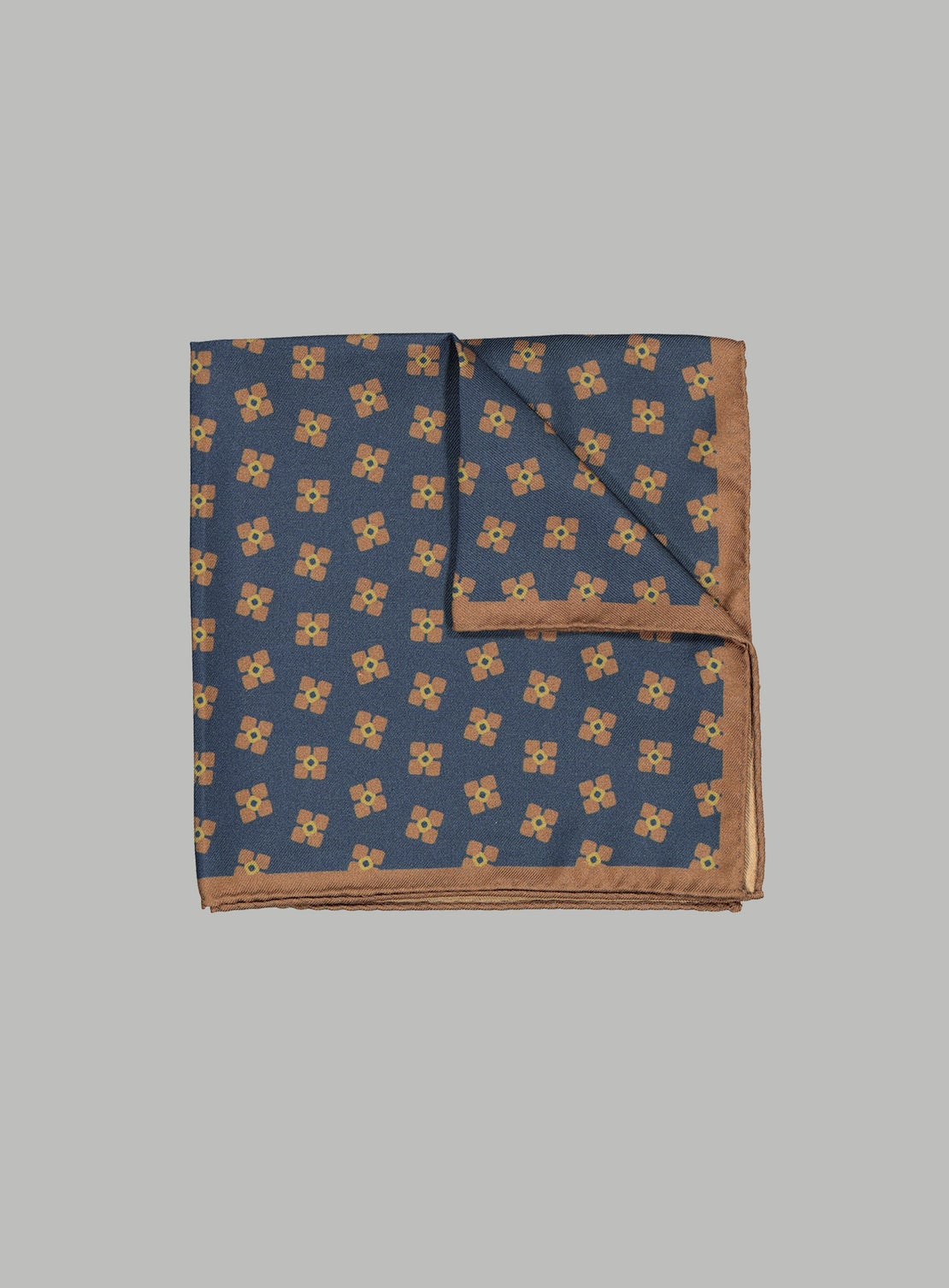 Blue With Rust & Gold Neat Pocket Square