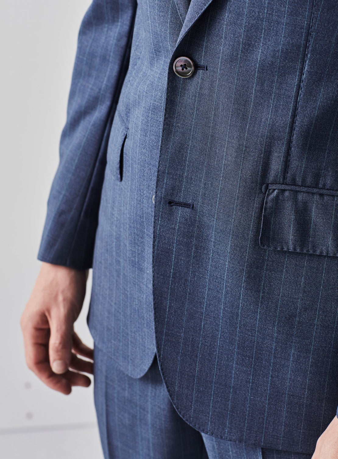 Blue with Teal Pinstripe Suit