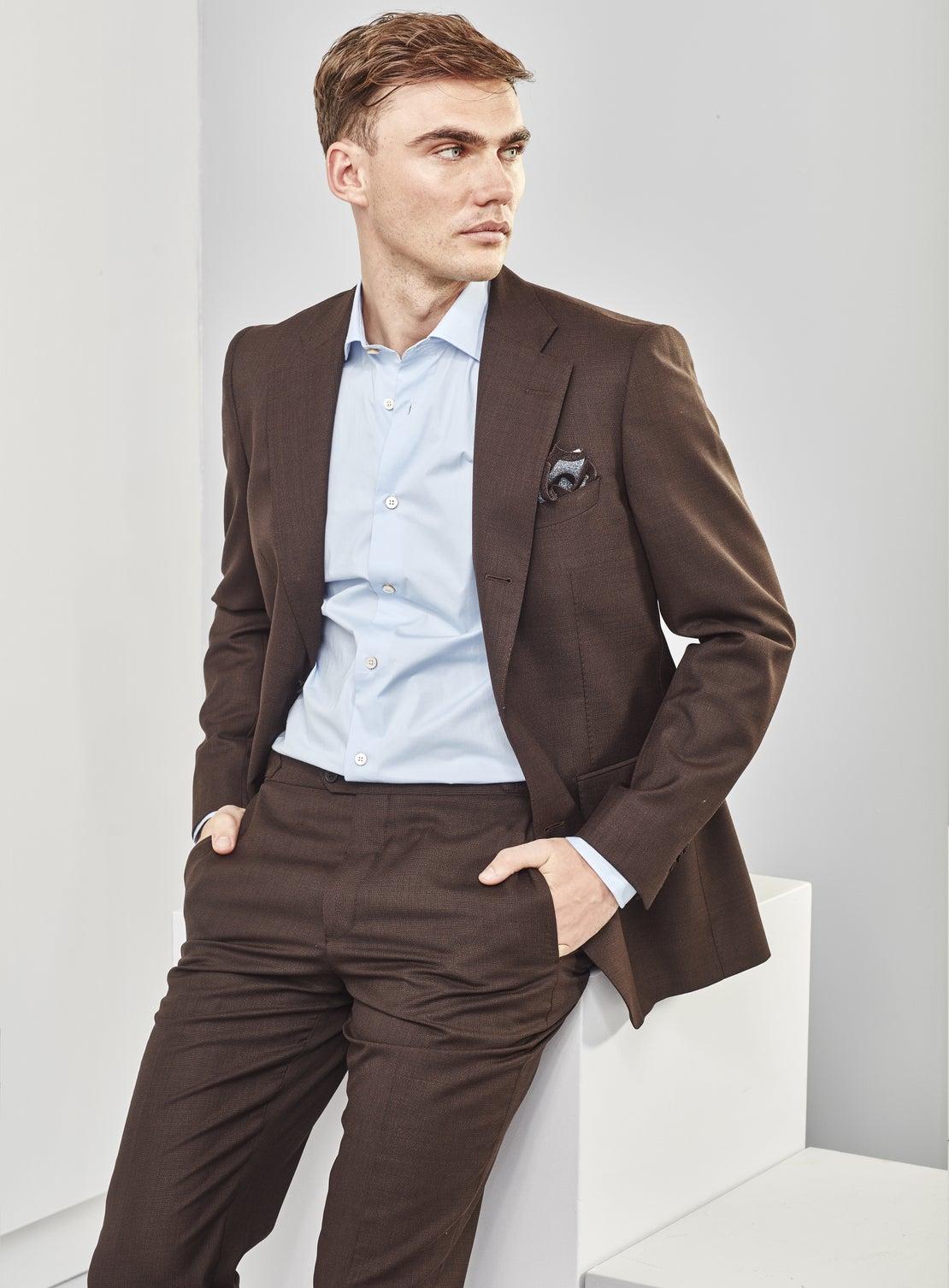 Brown Basketweave Suit Jacket