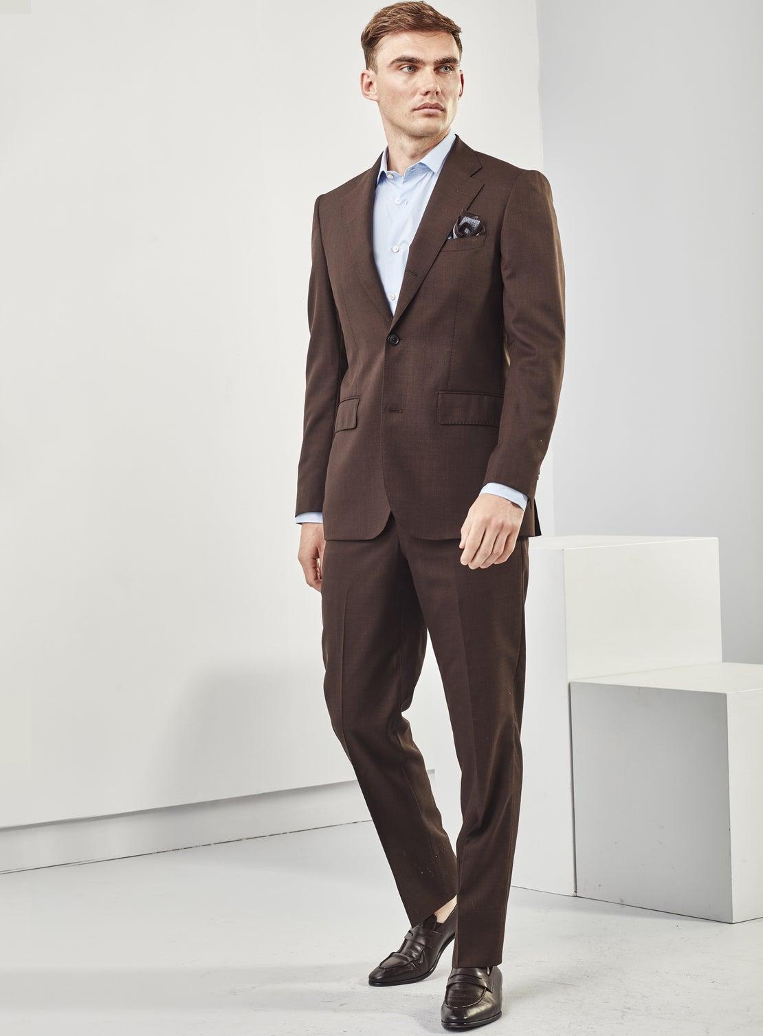 Brown Basketweave Trouser