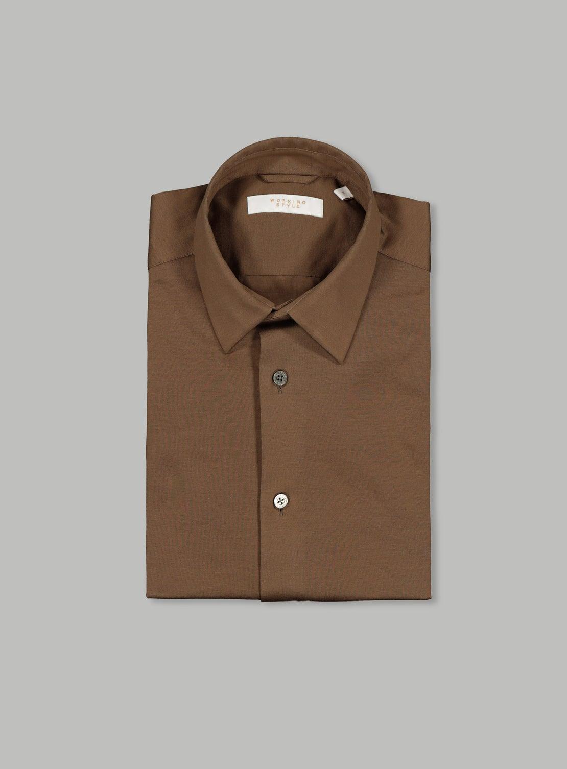 Brown Mercerized Knit Shirt