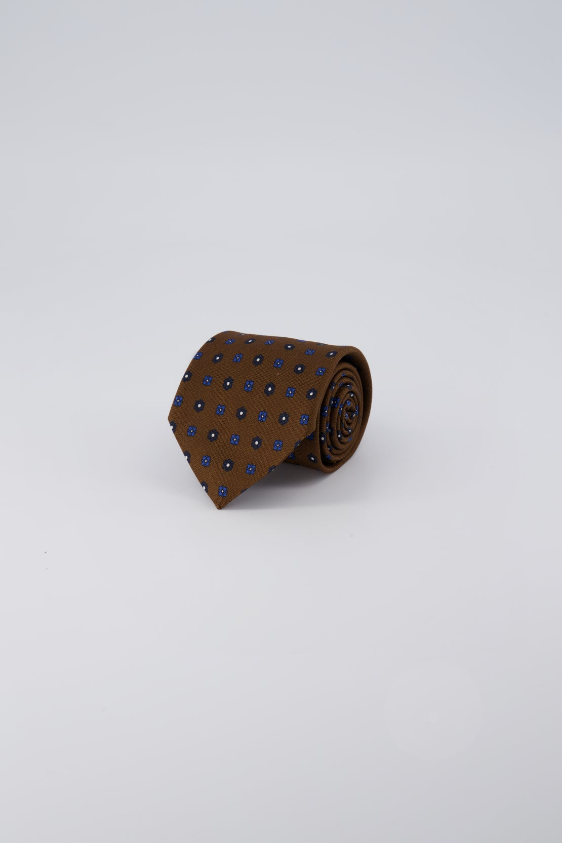Brown Oxford With Navy Floral Tie