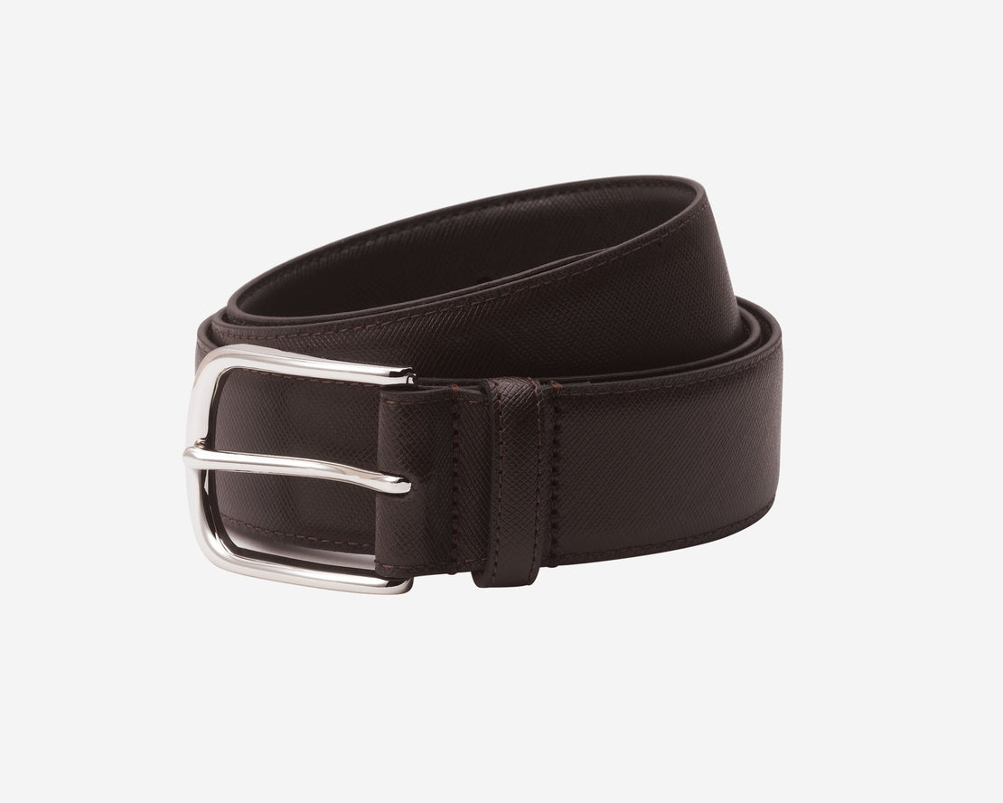 *Brown Saffiano Leather Belt