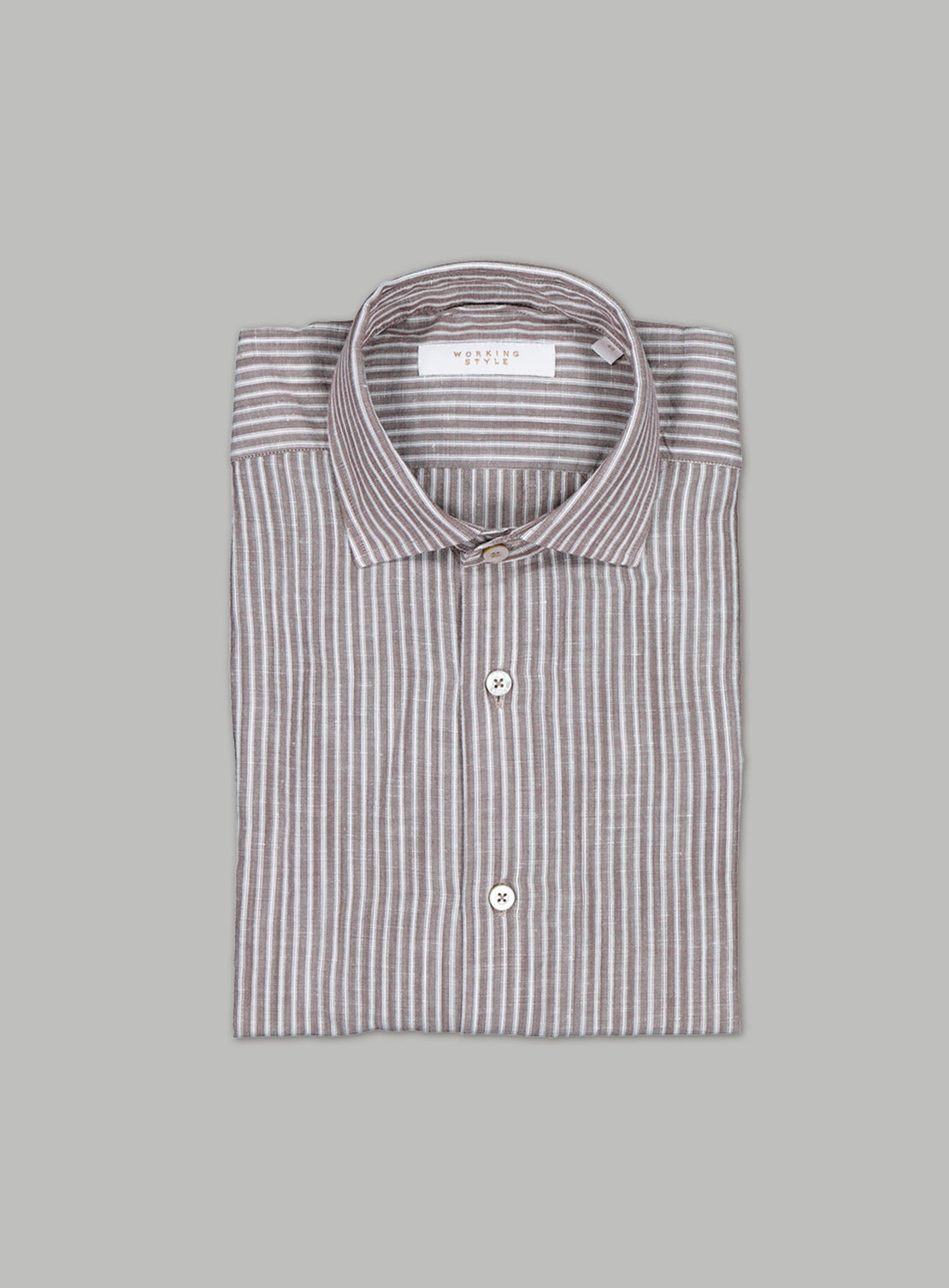 Brown & White Bordered Stripe Shirt