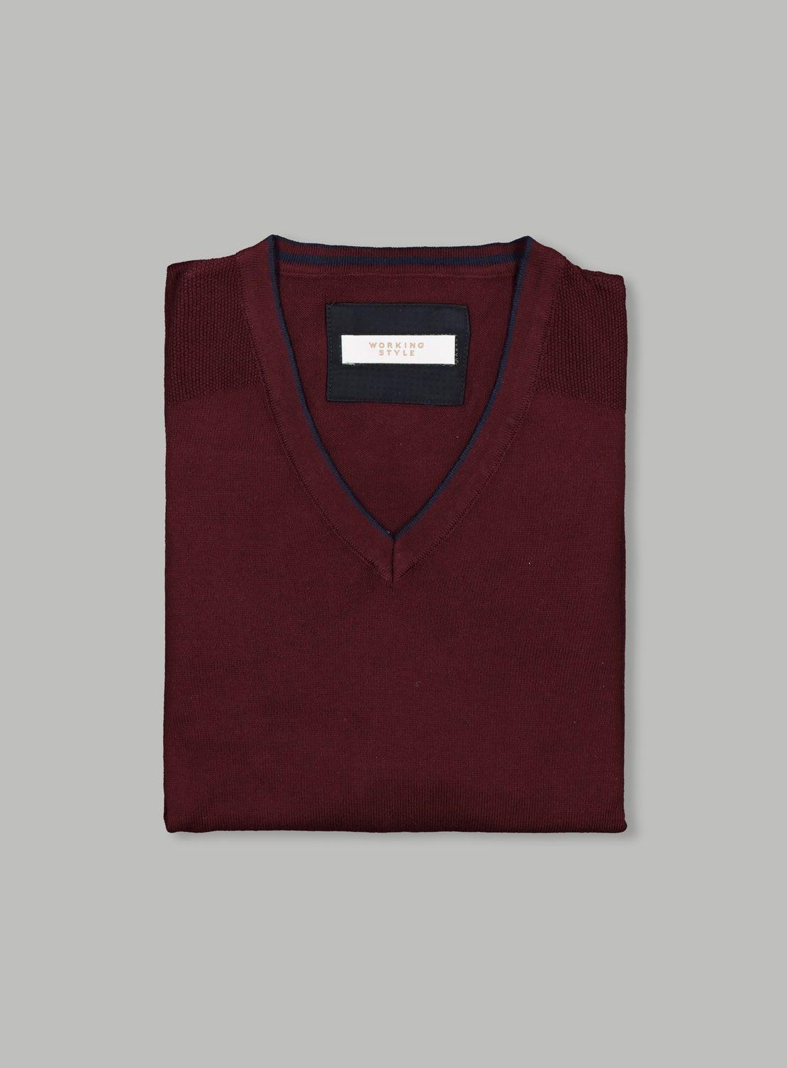 Burgundy Cotton V Neck