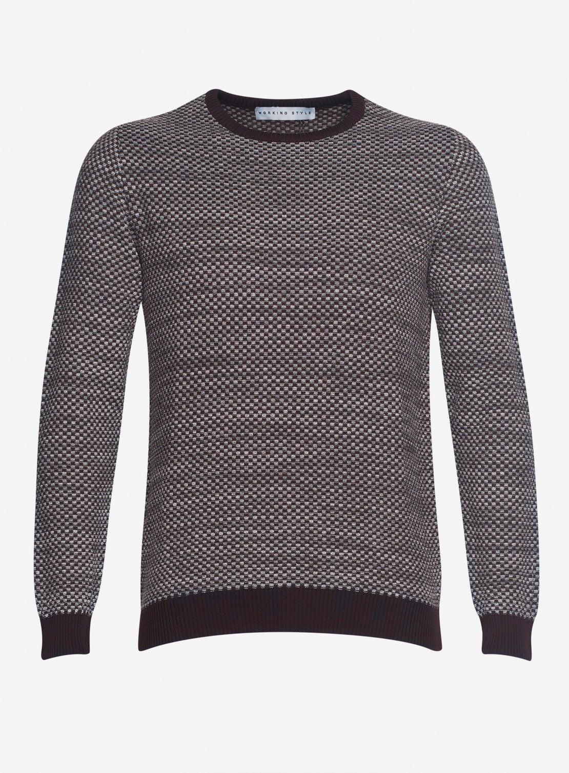 Burgundy with Grey Knit