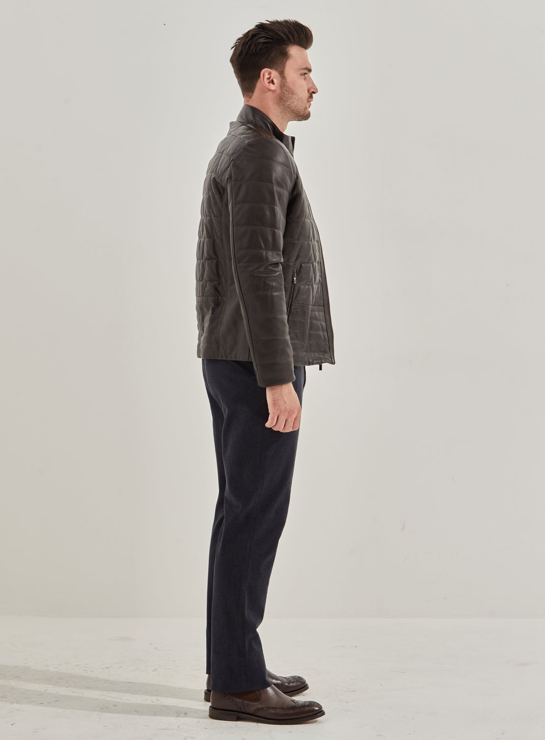 Carlo Chocolate Quilted Leather Jacket