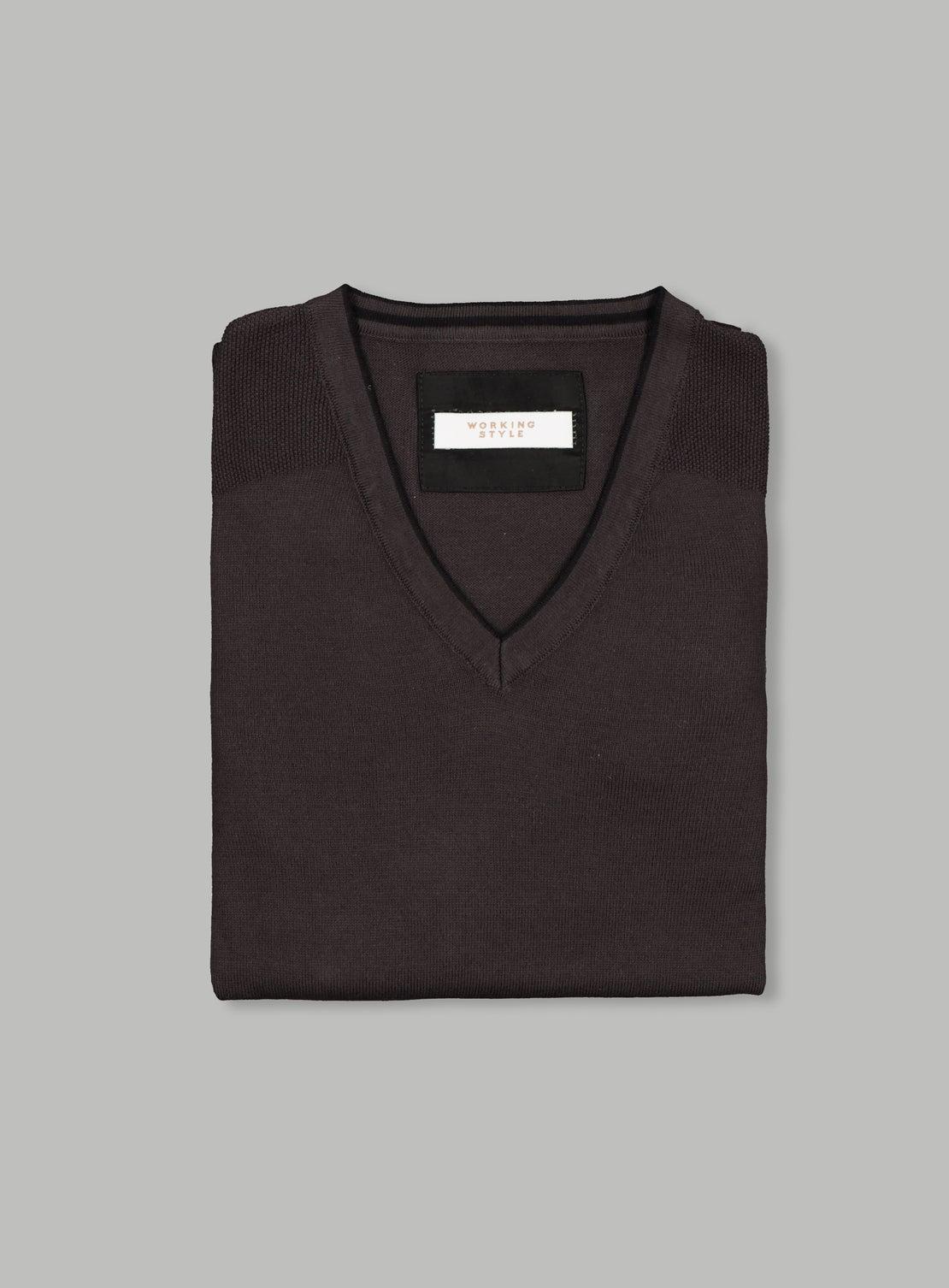 Charcoal Cotton V Neck