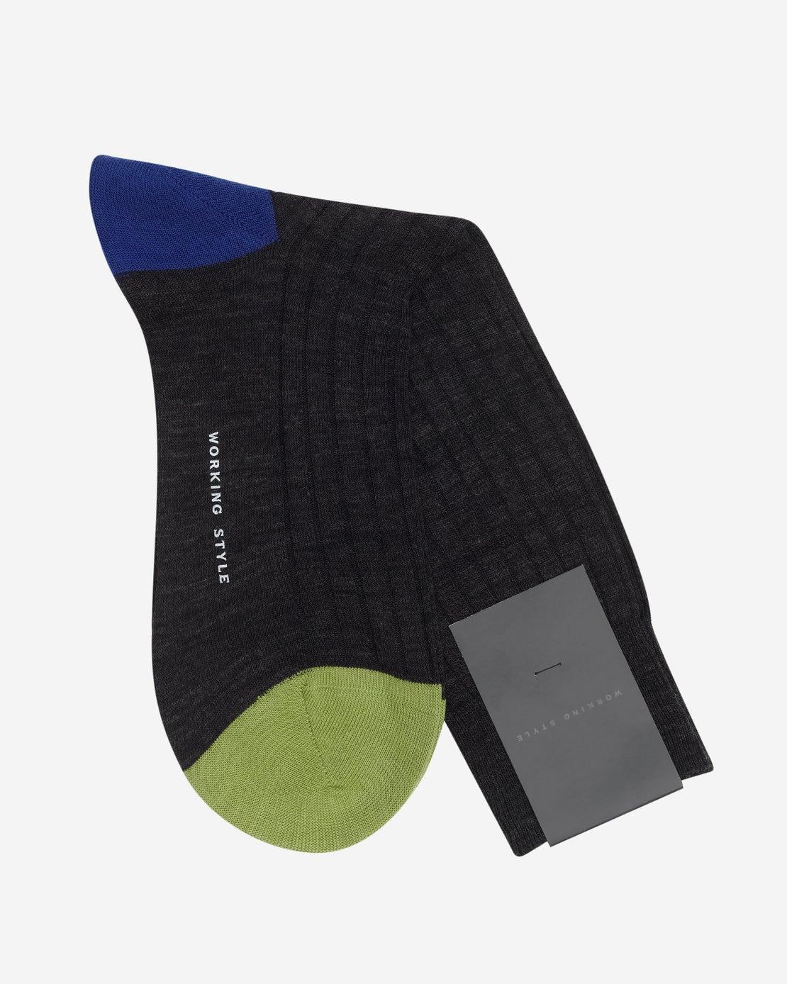 Charcoal Ribbed Heel & Toe Socks