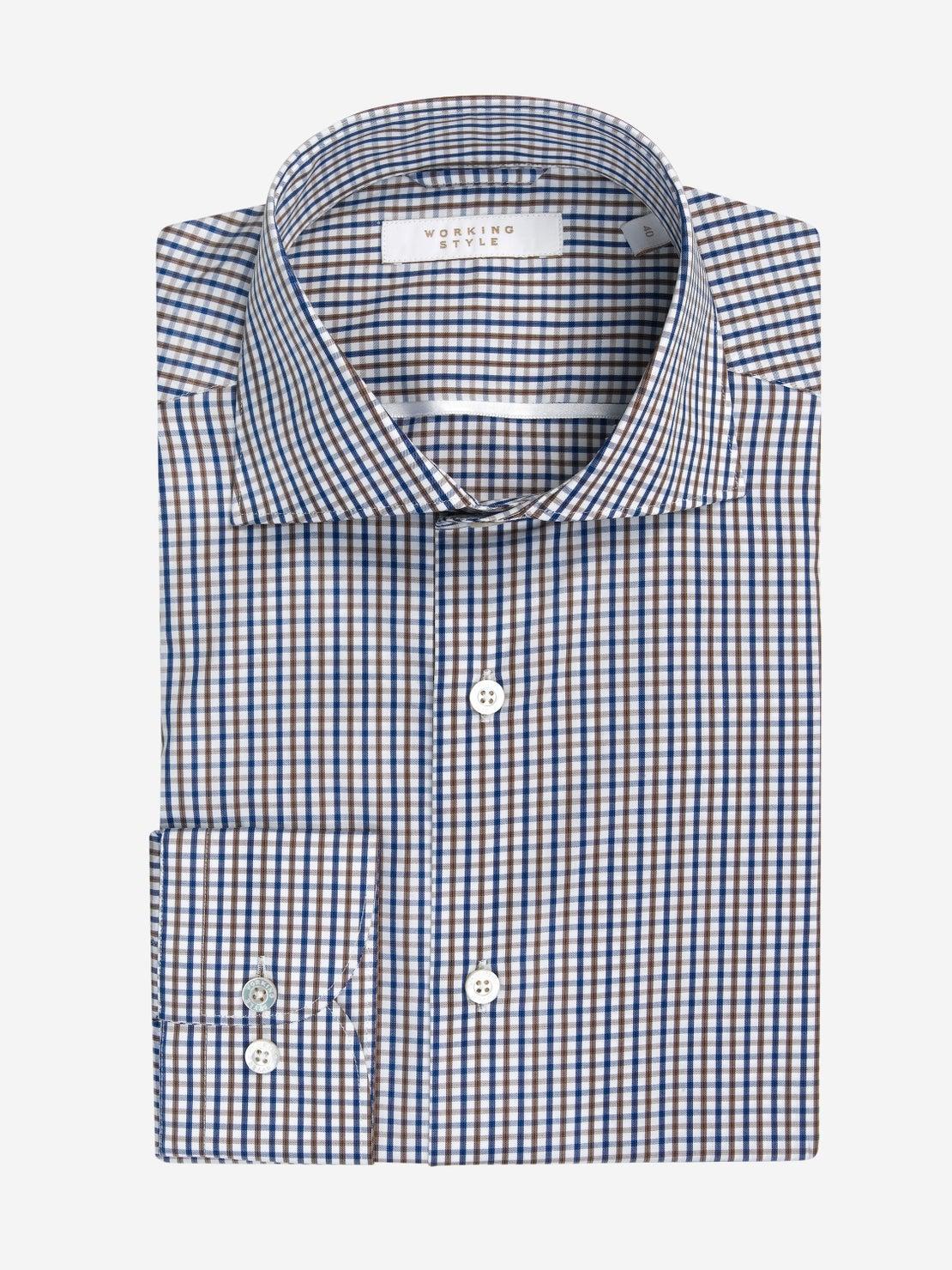 Choc, Navy & White Check Shirt