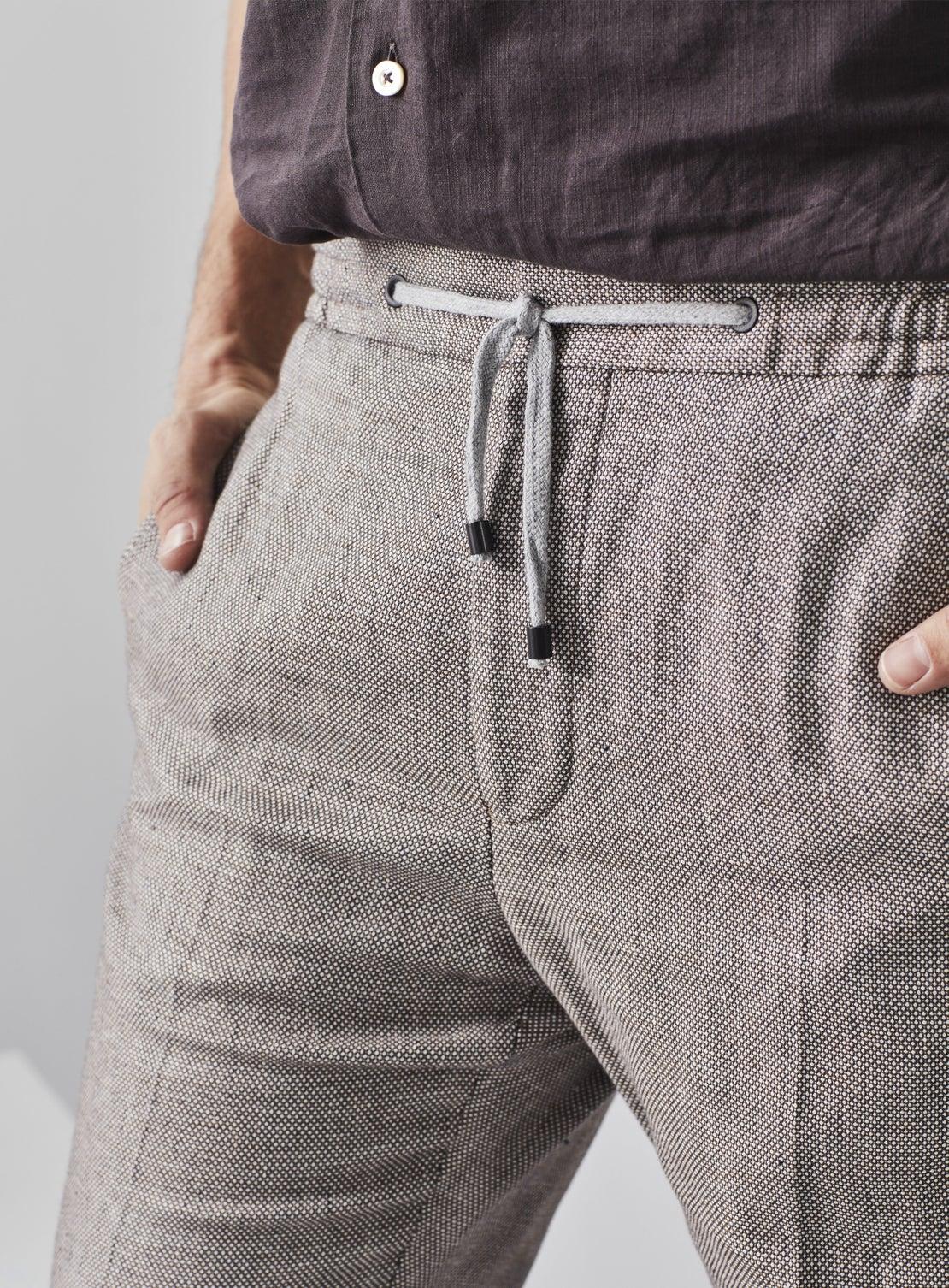 Chocolate Linen Birdseye Drawstring Trouser