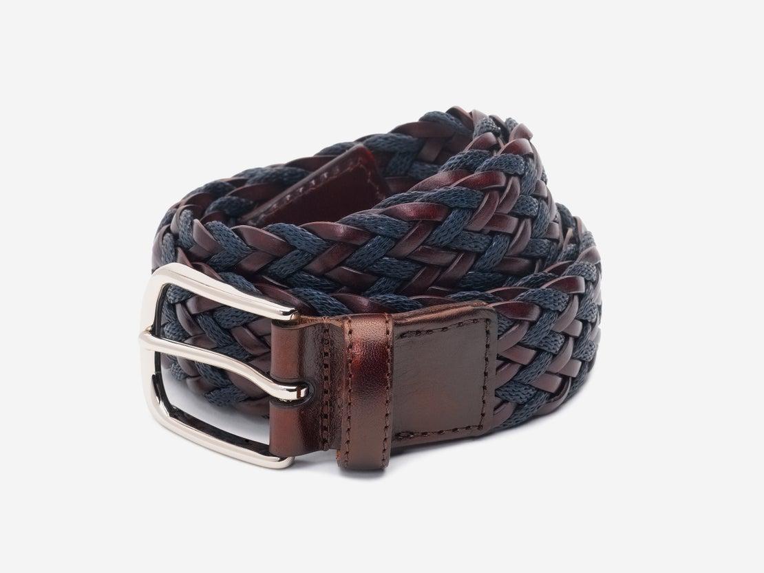 Chocolate & Navy Woven Belt