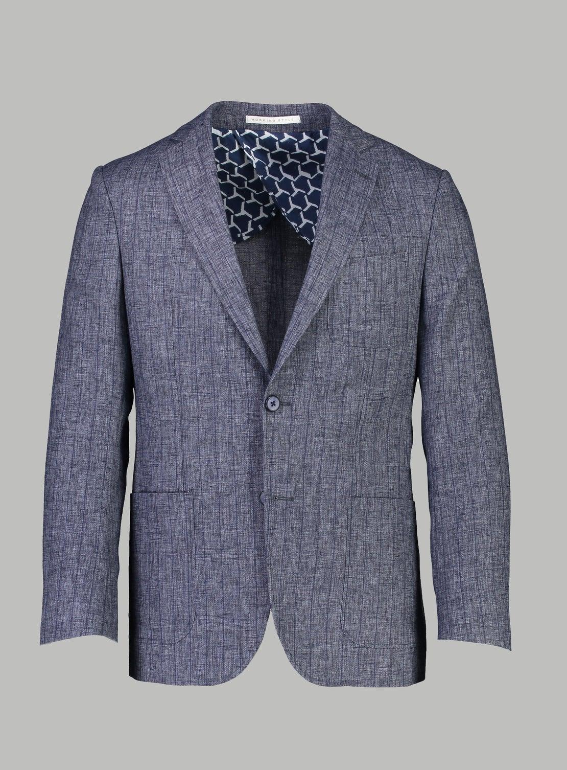 Clay Denim Blue Melange Pinstripe Sportscoat