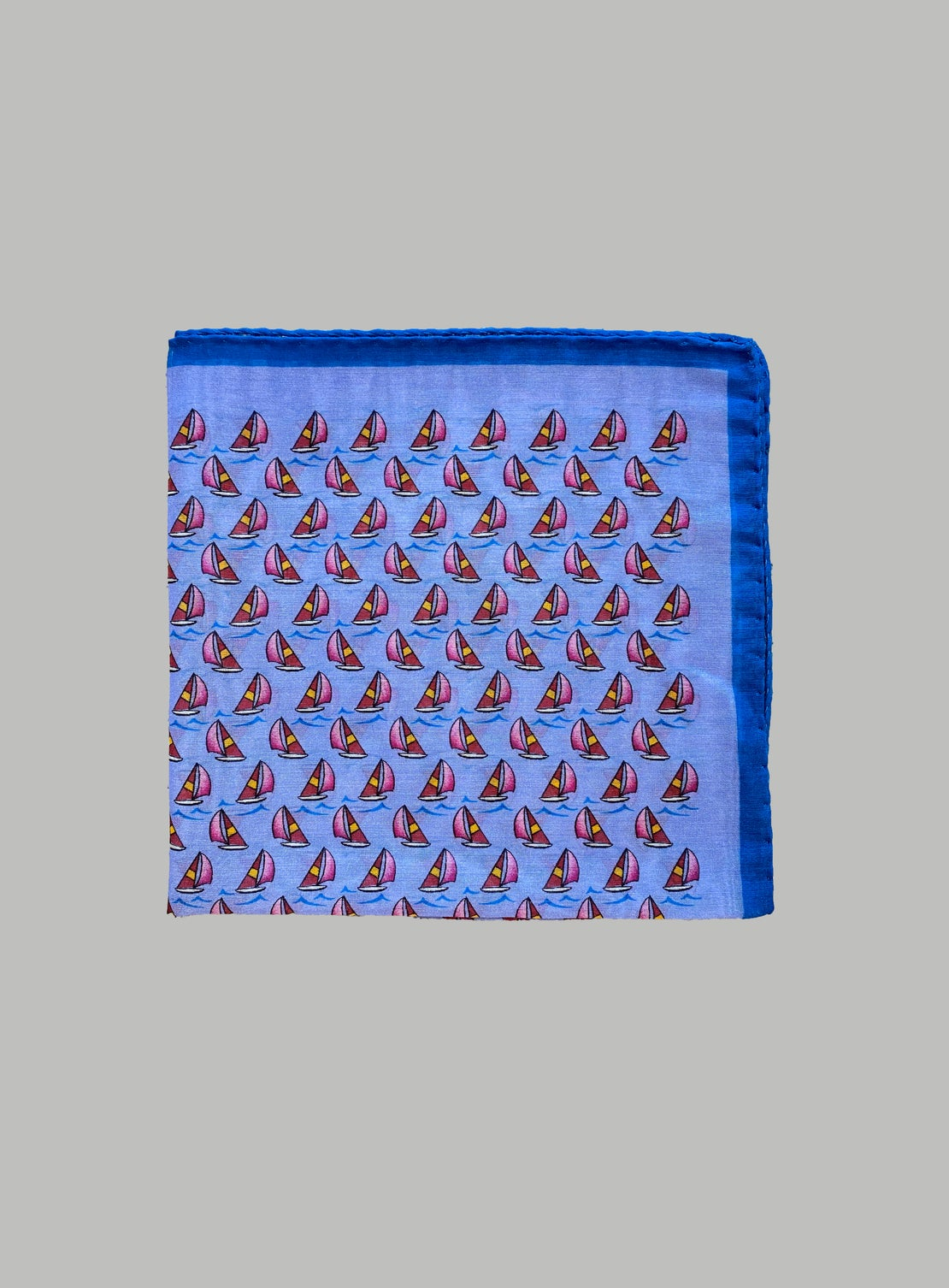 Cobalt Blue with Red/Pink Sail Boats