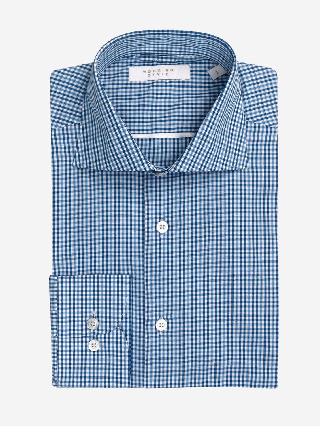 Cobalt, Navy & White Check Shirt