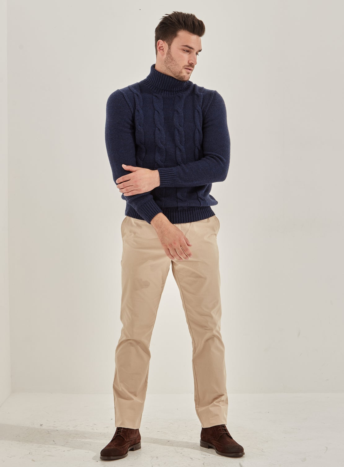 Denim Blue Cable Roll Neck