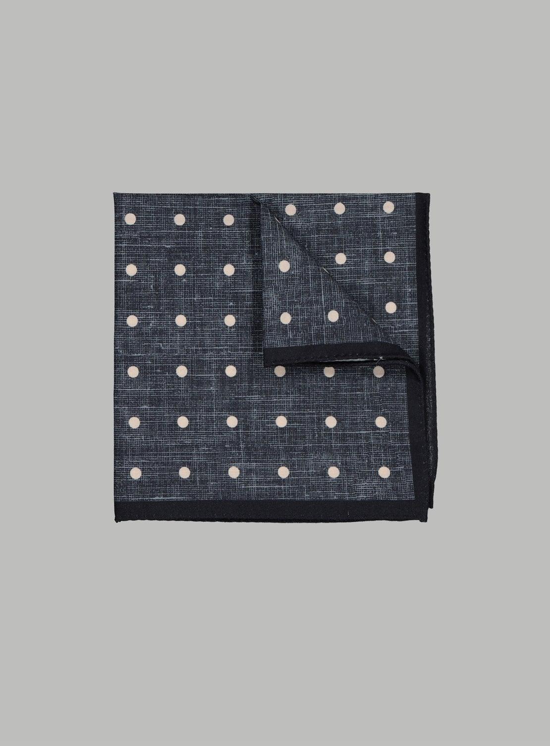 Denim Blue With Cream Dots Pocket Square