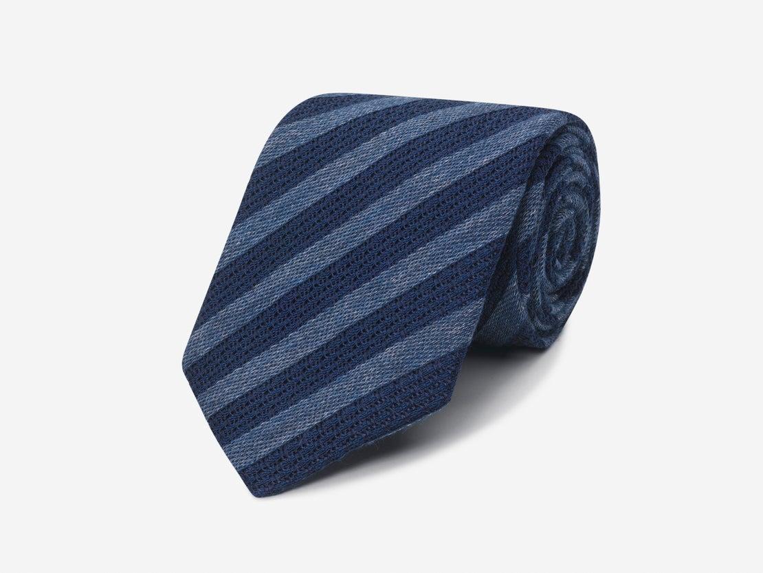 Denim & Navy Grenadine Stripe Tie